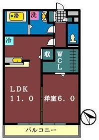ベルウッド六番館1階Fの間取り画像