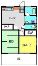 小川コーポ1階Fの間取り画像
