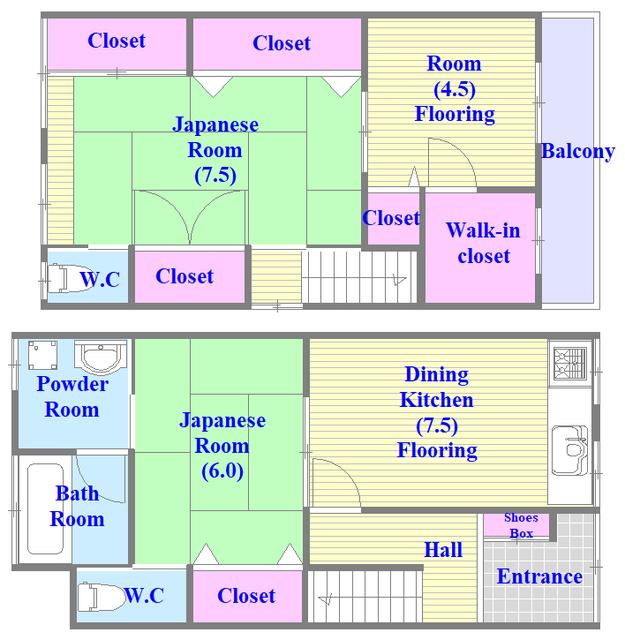 大蓮南2-18-9 貸家 和室のあるゆったりした間取です。一度ご覧ください。