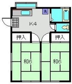 第3コーポ中丸2階Fの間取り画像