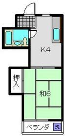 田中ハイツ1階Fの間取り画像