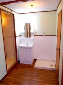 洗面化粧台と洗濯機置場のある洗面スペース