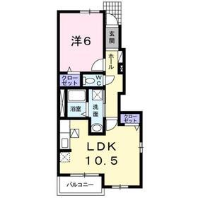 カ-サ フィオ-レ・エム1階Fの間取り画像