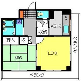 二俣川YUビル5階Fの間取り画像