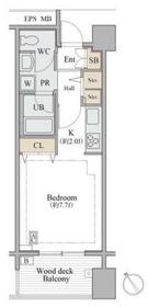 シャレール広尾 1号棟2階Fの間取り画像