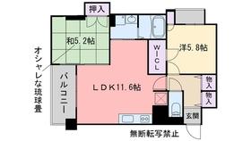 レジディア西新13階Fの間取り画像
