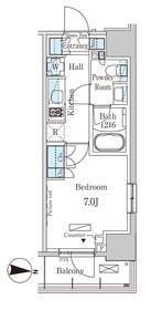 パークアクシス押上サウス7階Fの間取り画像