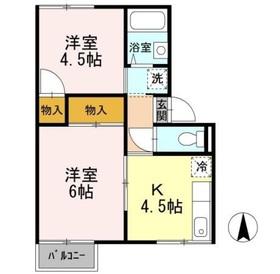 プレジール222階Fの間取り画像