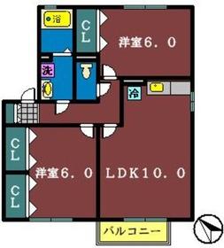 ウィルモア海神2階Fの間取り画像