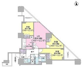 富久クロスコンフォートタワー34階Fの間取り画像