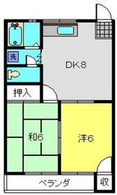 コスモハイツ1階Fの間取り画像