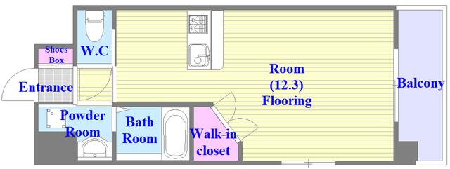 PHOENIX Clove Tomoi うれしいバス・トイレがセパレートの単身さん向けの間取りです。