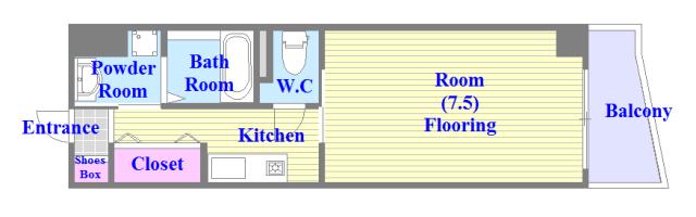 プリムローズHY1 バストイレがセパレート、独立洗面所のある使い易い間取りです。