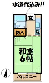 第1藤美荘2階Fの間取り画像