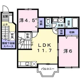 リファインドビレッジ2階Fの間取り画像
