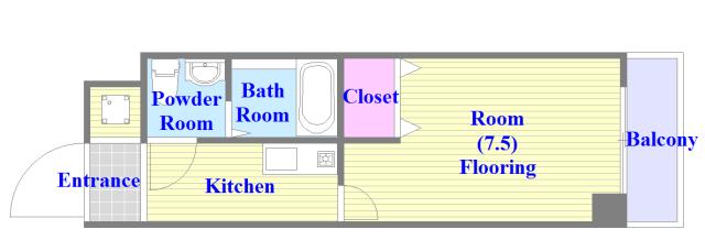 アネックスサンタオ うれしいバス・トイレがセパレートの単身さん向けの間取りです。