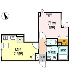 ラフィネHanamizuki1階Fの間取り画像