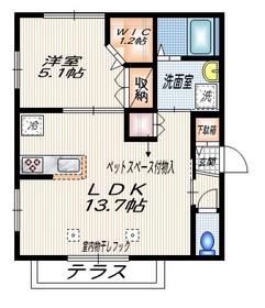 リンデンハイム (ペット共生)1階Fの間取り画像