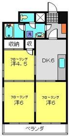 月田マンション4階Fの間取り画像