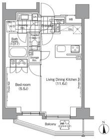 パークハビオ秋葉原8階Fの間取り画像