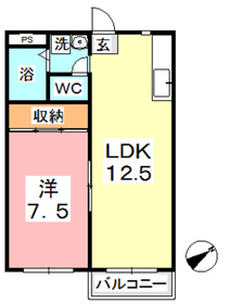 アパートメント新宅 B1階Fの間取り画像