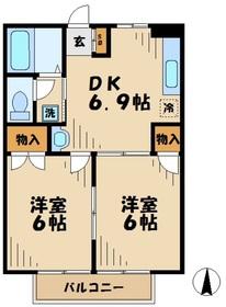 南林間駅 徒歩15分2階Fの間取り画像