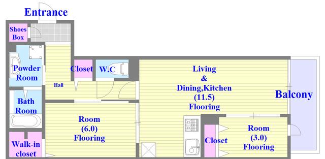 仮称)東大阪市足代D-room 人気の全室フローリングのファミリータイプの間取り。