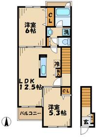 サンハイムF2階Fの間取り画像