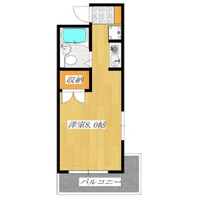 角部屋で22.95㎡のワンルームでは広めのお部屋です☆