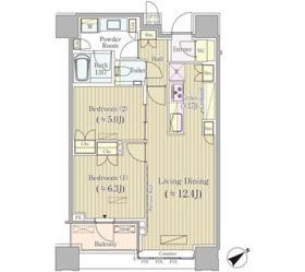 Brillia Towers目黒 ノースレジデンス22階Fの間取り画像