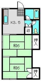 第2岡谷荘2階Fの間取り画像