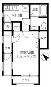 フラッツサマリアⅡ1階Fの間取り画像