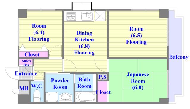 グランシャトレー DAIWA 各お部屋がゆとりのある広さですね。