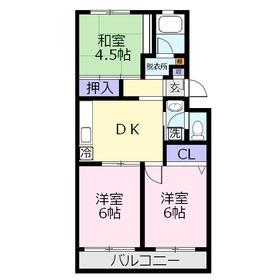 三芳グリーンハイム4階Fの間取り画像