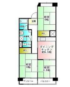 天王町スカイハイツ 6号棟12階Fの間取り画像