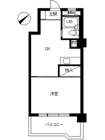 スカイコート川崎74階Fの間取り画像