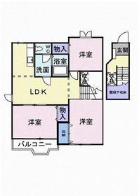 武蔵小杉駅 バス18分「野川小学校」徒歩4分2階Fの間取り画像