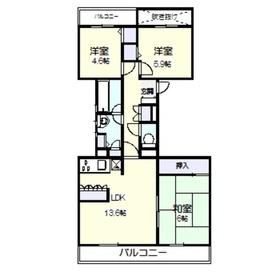 ハイツ東戸塚Ⅱ B棟1階Fの間取り画像