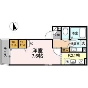 シャトレーKAMATA1階Fの間取り画像