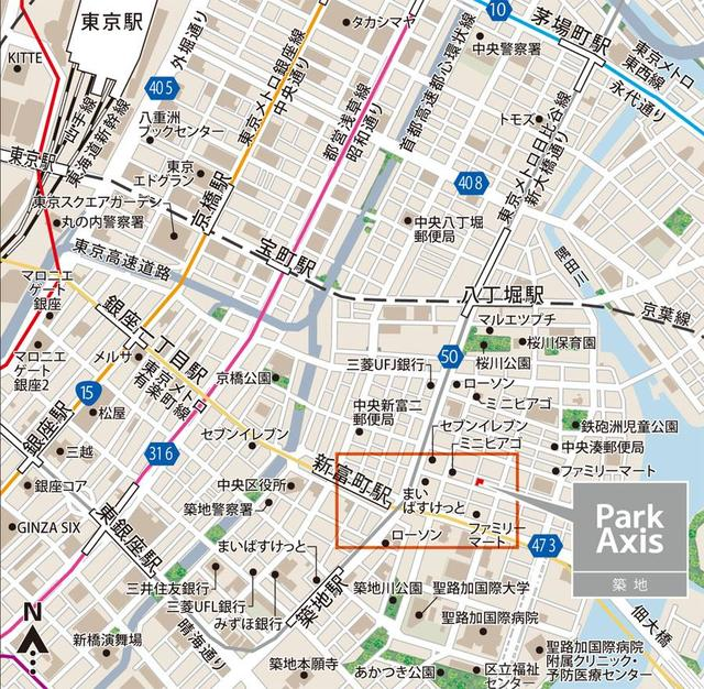 パークアクシス築地案内図