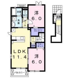 オリーブハウス2階Fの間取り画像