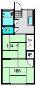 横溝荘2階Fの間取り画像