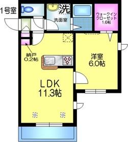 La Casa Mia ラカーサミーア2階Fの間取り画像