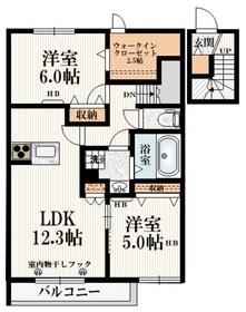 八王子駅 バス18分「住宅北」徒歩2分2階Fの間取り画像