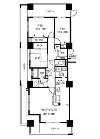 聖蹟桜ヶ丘ビュータワー25階Fの間取り画像