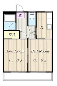 稲田堤サンハイツ4階Fの間取り画像