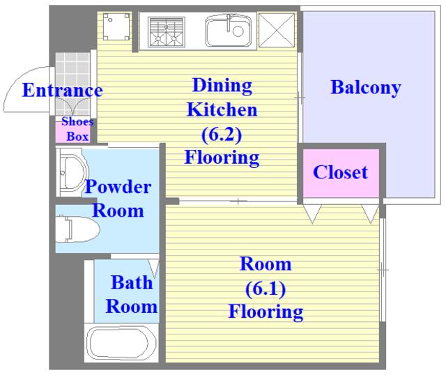 ペースネージュ足代北 バス・トイレが別のセパレート。広めの間取りです。