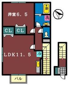 アムール B(北本町)2階Fの間取り画像