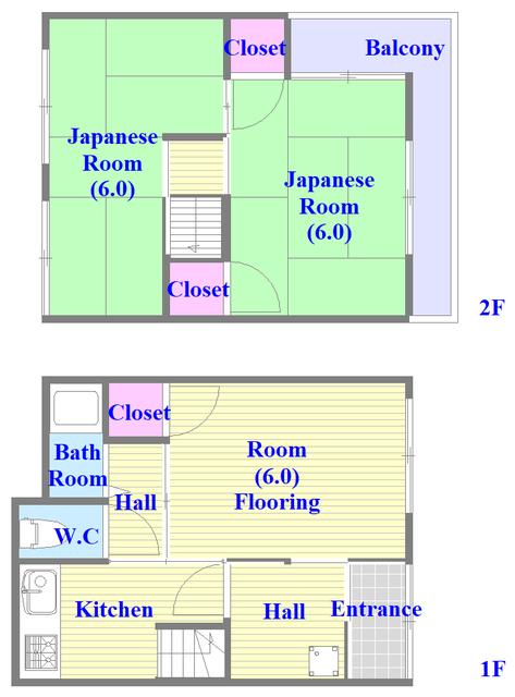 大蓮東5-5-12 貸家 和室のある間取です。ゆったりおくつろぎください。