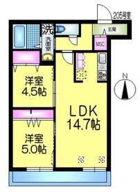 レジデンスGINKGO2階Fの間取り画像